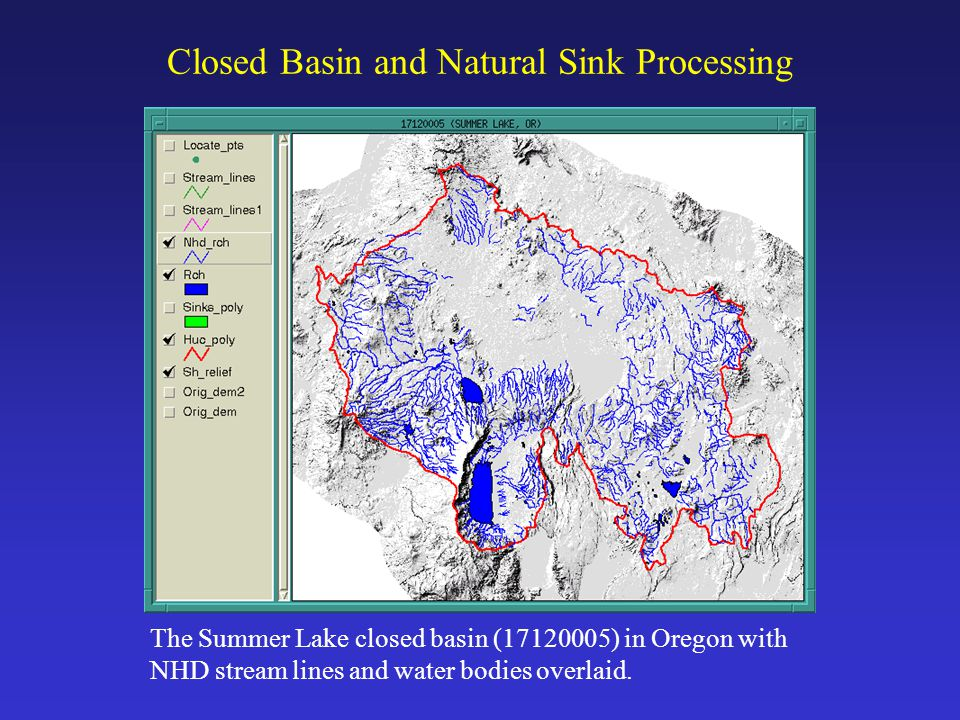 Closed Basin and Natural Sink Processing The Summer Lake closed basin (17120005) in Oregon with NHD stream lines and water bodies overlaid.