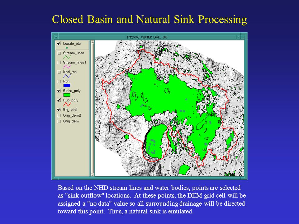 When to Consider Redelineation Basins should be redelineated if: improved DEM data becomes available, it is necessary to make basin calculations at a specific point (for example, at a stream gage), it is necessary to eliminate sliver polygon gaps and overlaps that may exist between HUCs it is necessary to eliminate large swamps and marshes, or it is necessary to burn in stream lines (such as those in the NHD) to improve delineation results.