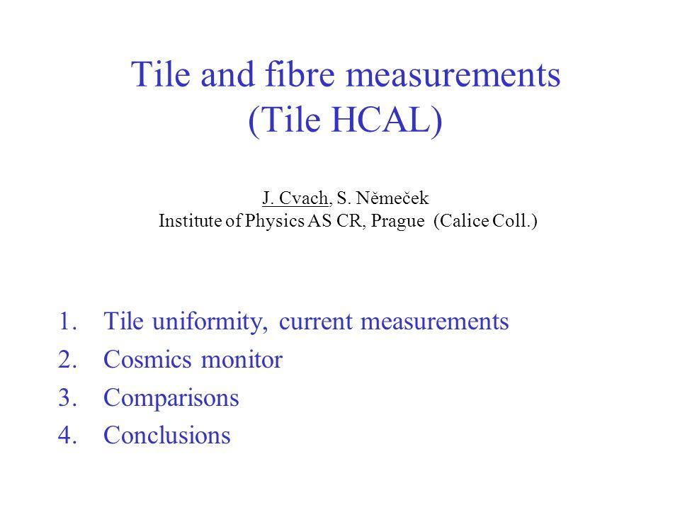 Tile and fibre measurements (Tile HCAL) J. Cvach, S.