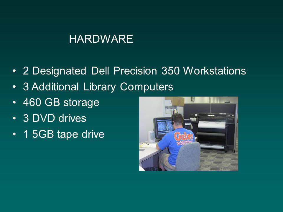 HARDWARE 2 Designated Dell Precision 350 Workstations 3 Additional Library Computers 460 GB storage 3 DVD drives 1 5GB tape drive