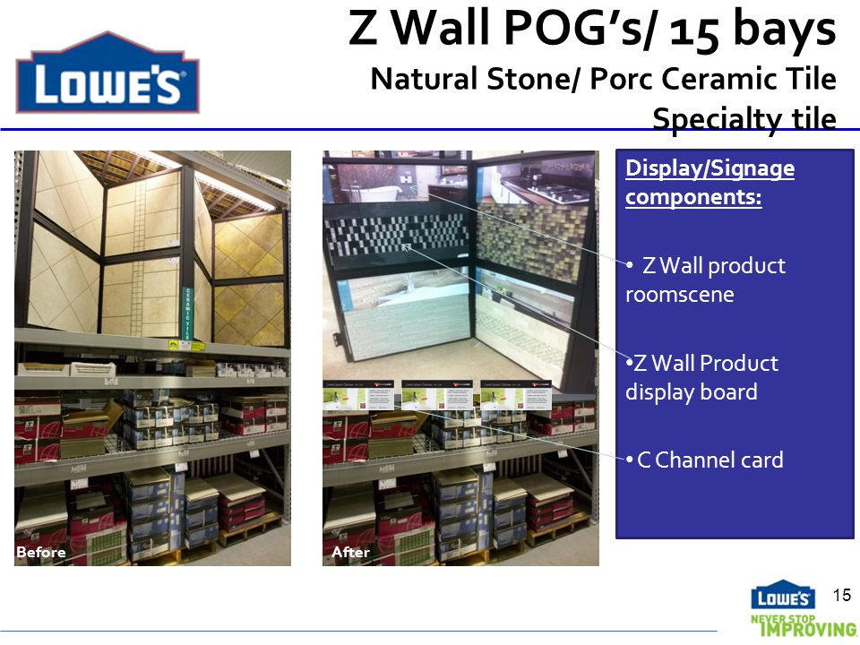 Z Wall POGs/ 15 bays Natural Stone/ Porc Ceramic Tile Specialty tile Before After Display/Signage components: Z Wall product roomscene Z Wall Product display board C Channel card 15