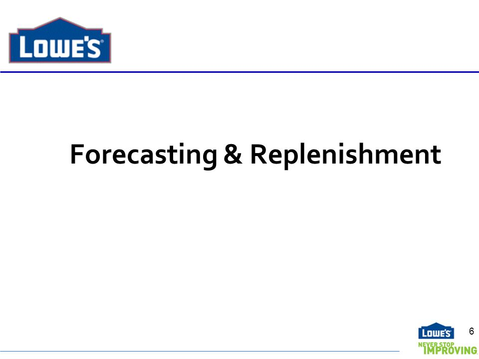 Forecasting & Replenishment 6