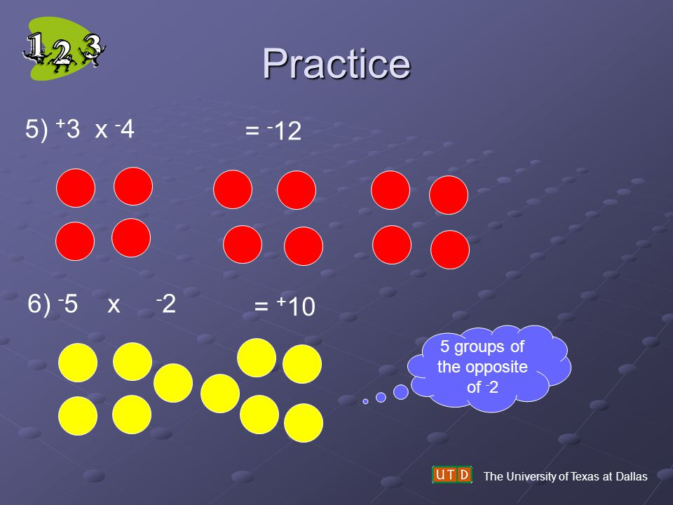 Practice The University of Texas at Dallas 5) + 3 x - 4 = - 12 6) - 5 x - 2 = + 10 5 groups of the opposite of - 2