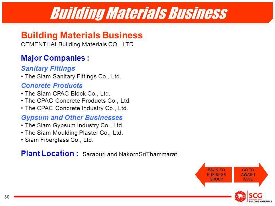 30 Building Materials Business CEMENTHAI Building Materials CO., LTD. Major Companies : Sanitary Fittings The Siam Sanitary Fittings Co., Ltd. Concret