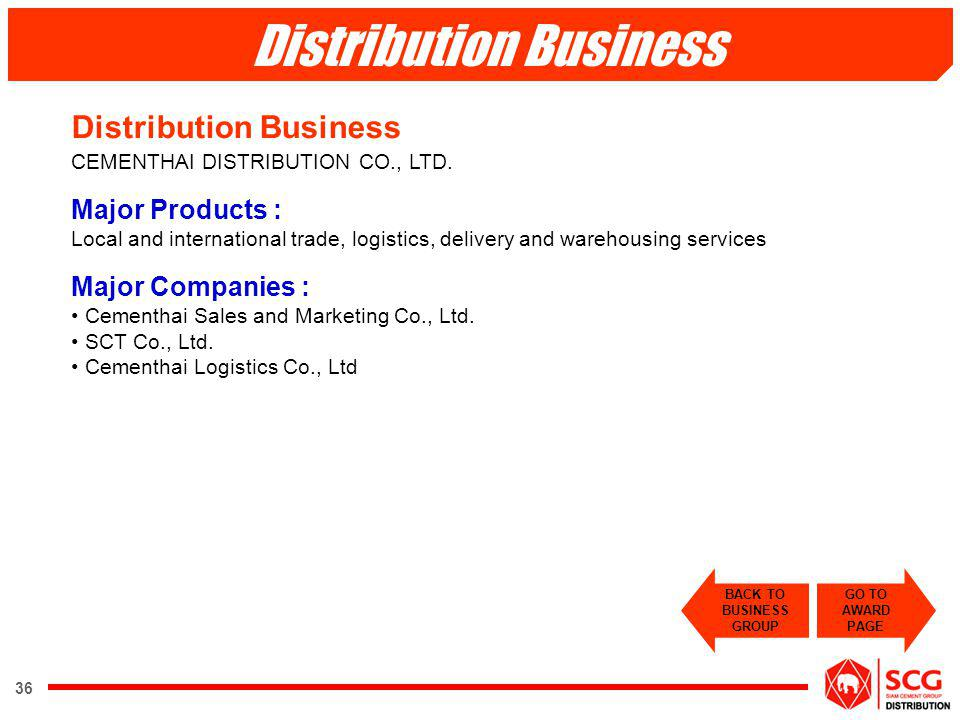 36 Distribution Business CEMENTHAI DISTRIBUTION CO., LTD. Major Products : Local and international trade, logistics, delivery and warehousing services