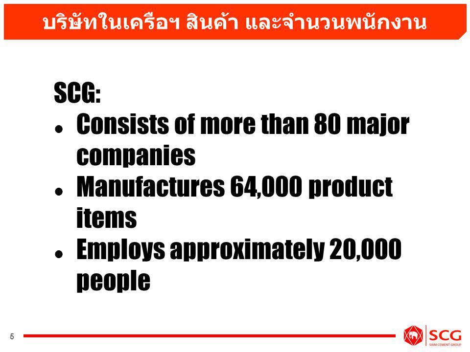 6 Follow by Building Materials Expand to Other Business Business Restructuring after the Crisis Evolution of The SCG Begin with Cement Business
