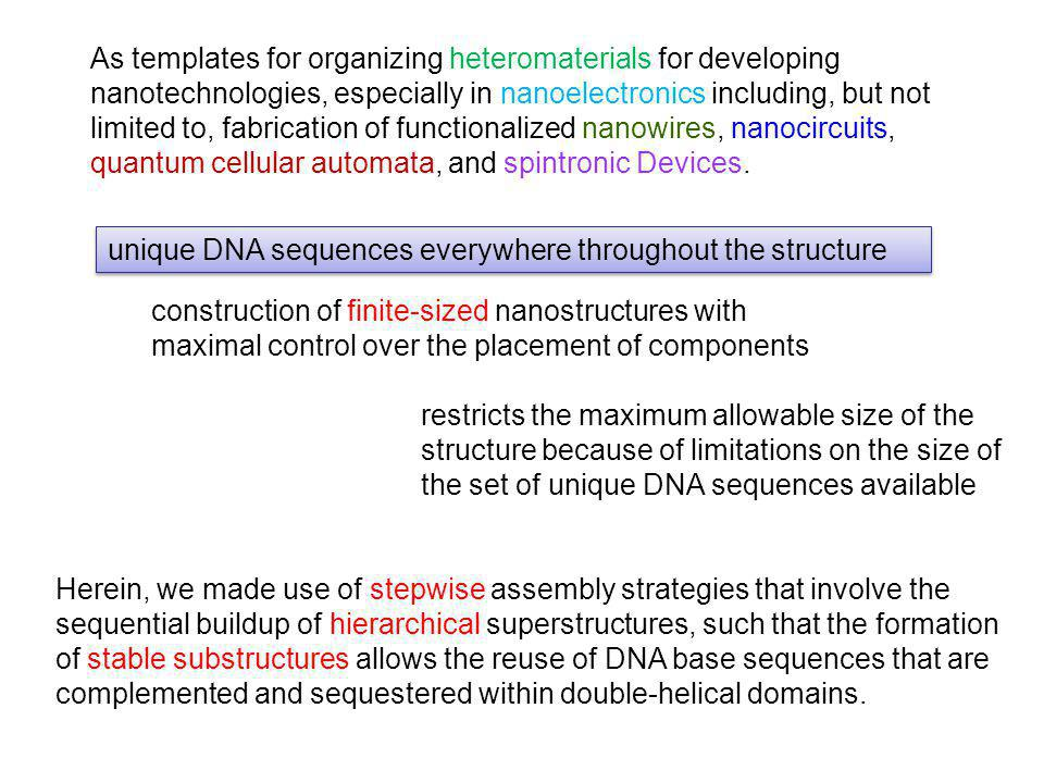 unique DNA sequences everywhere throughout the structure construction of finite-sized nanostructures with maximal control over the placement of compon