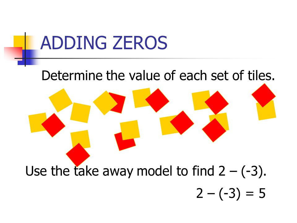 ADDING ZEROS Determine the value of each set of tiles. Use the take away model to find 2 – (-3). 2 – (-3) = 5