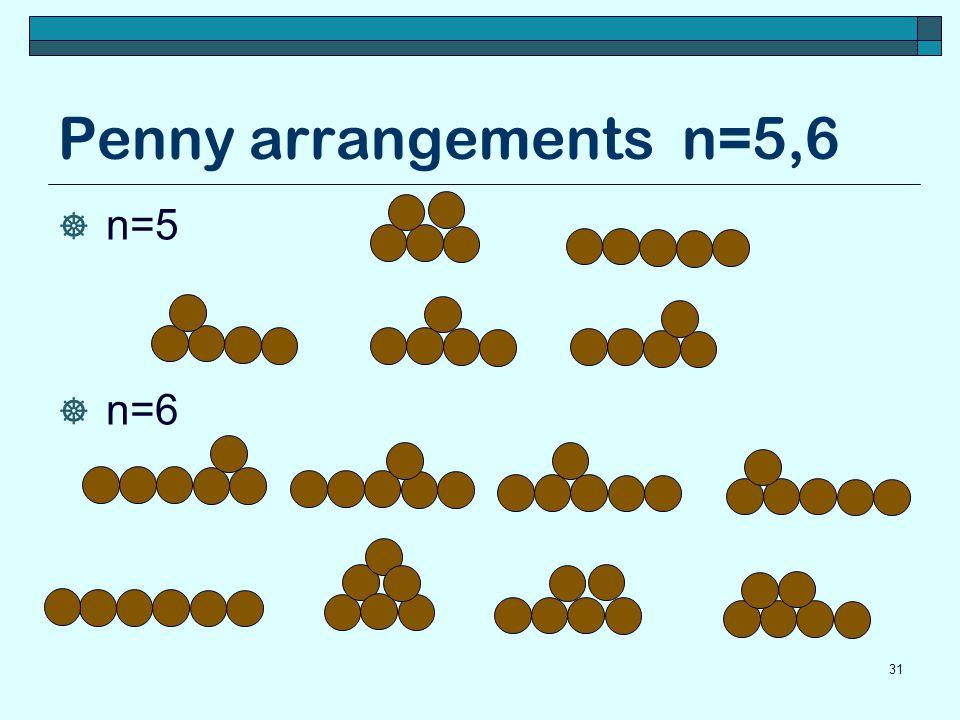 Penny arrangements n=5,6 n=5 n=6 31