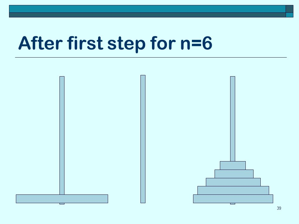 After first step for n=6 39