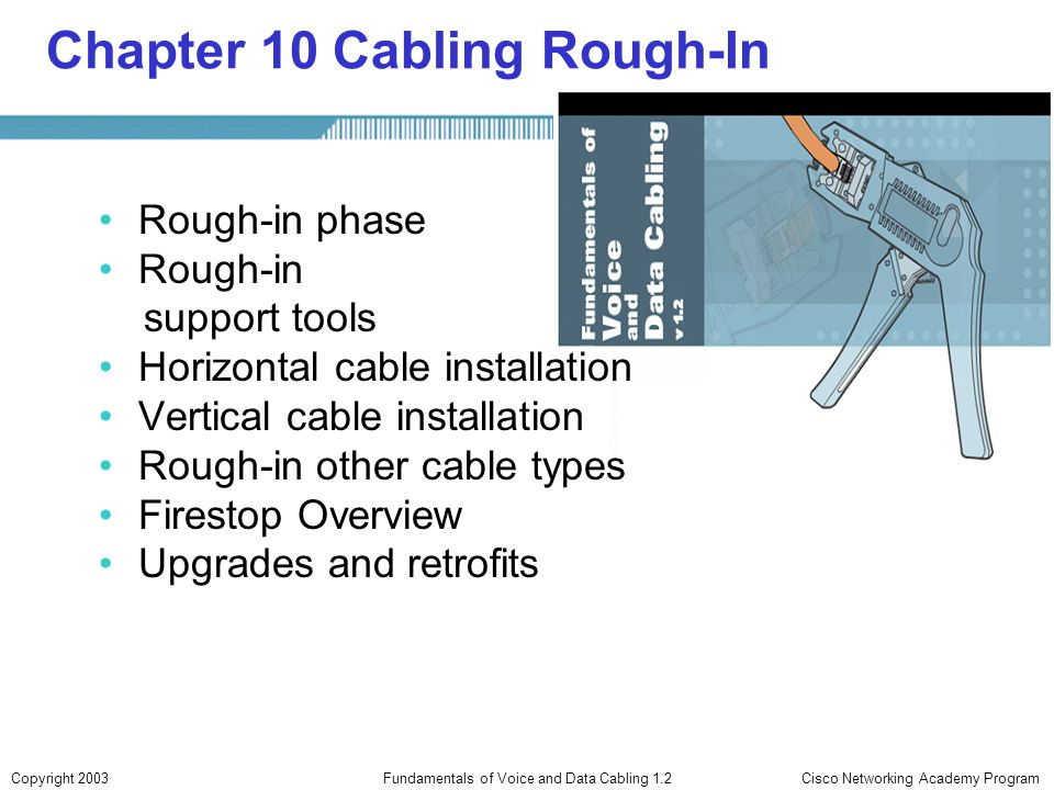 Cisco Networking Academy ProgramCopyright 2003Fundamentals of Voice and Data Cabling 1.2 Chapter 10 Cabling Rough-In Rough-in phase Rough-in support t