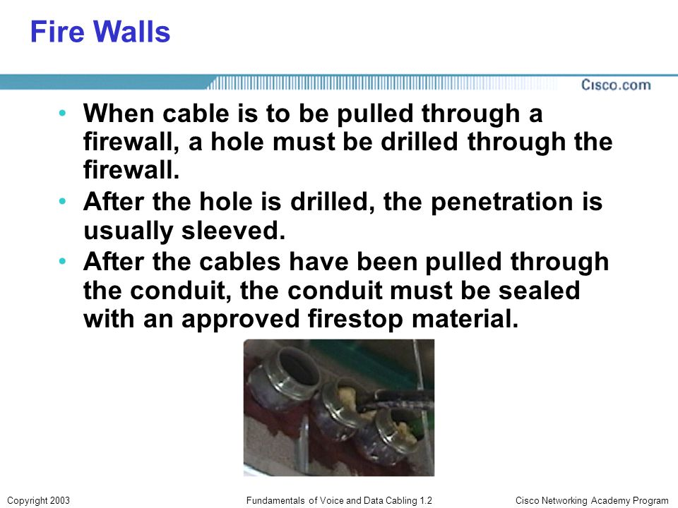Cisco Networking Academy ProgramCopyright 2003Fundamentals of Voice and Data Cabling 1.2 Fire Walls When cable is to be pulled through a firewall, a h