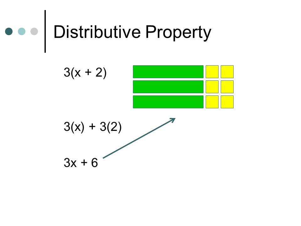 Distributive Property 3(x + 2) 3(x) + 3(2) 3x + 6