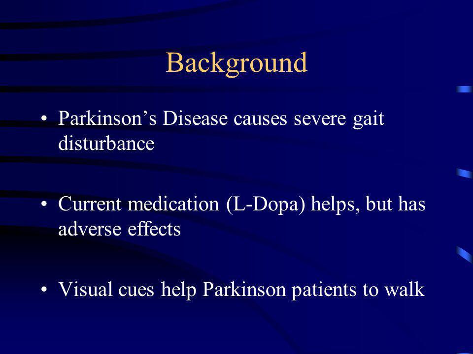 Background Parkinsons Disease causes severe gait disturbance Current medication (L-Dopa) helps, but has adverse effects Visual cues help Parkinson pat