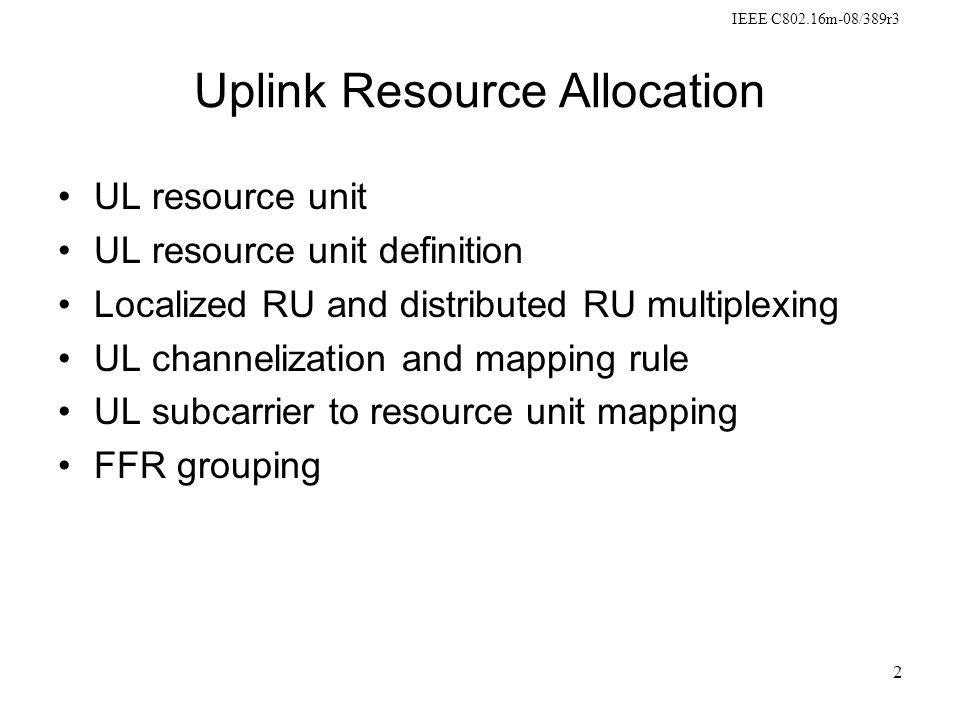IEEE C802.16m-08/389r3 3 UL resource unit UL resource units includes UL distributed resource unit (DRU) and UL localized resource unit (LRU).