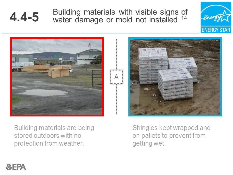 4.4-5 Building materials are being stored outdoors with no protection from weather. Building materials with visible signs of water damage or mold not