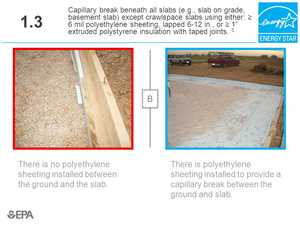1.3 There is no polyethylene sheeting installed between the ground and the slab. Capillary break beneath all slabs (e.g., slab on grade, basement slab