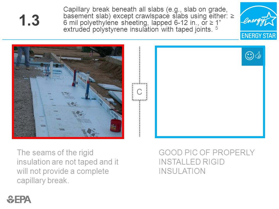 1.3 The seams of the rigid insulation are not taped and it will not provide a complete capillary break. Capillary break beneath all slabs (e.g., slab