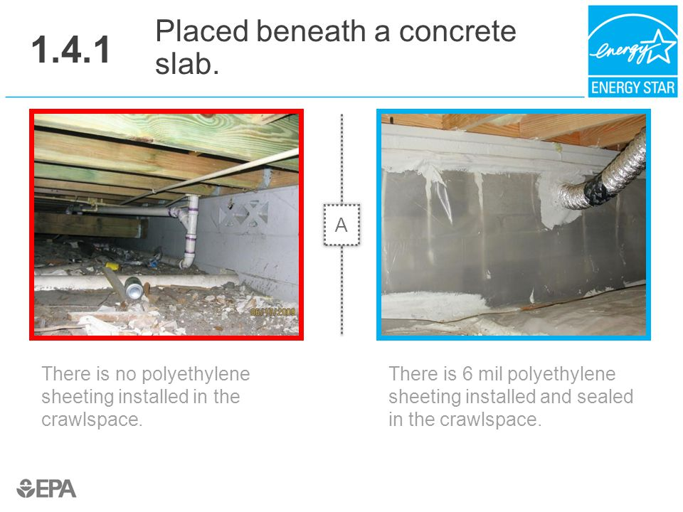 1.4.1 There is no polyethylene sheeting installed in the crawlspace. Placed beneath a concrete slab. There is 6 mil polyethylene sheeting installed an