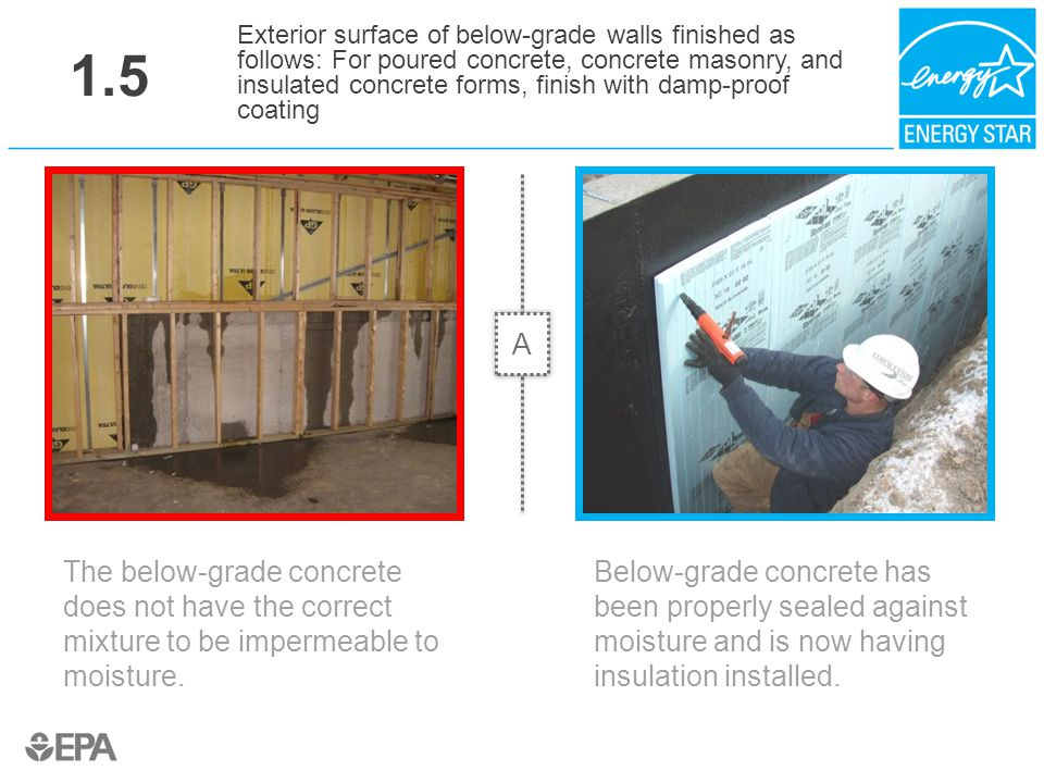 1.5 The below-grade concrete does not have the correct mixture to be impermeable to moisture. Exterior surface of below-grade walls finished as follow