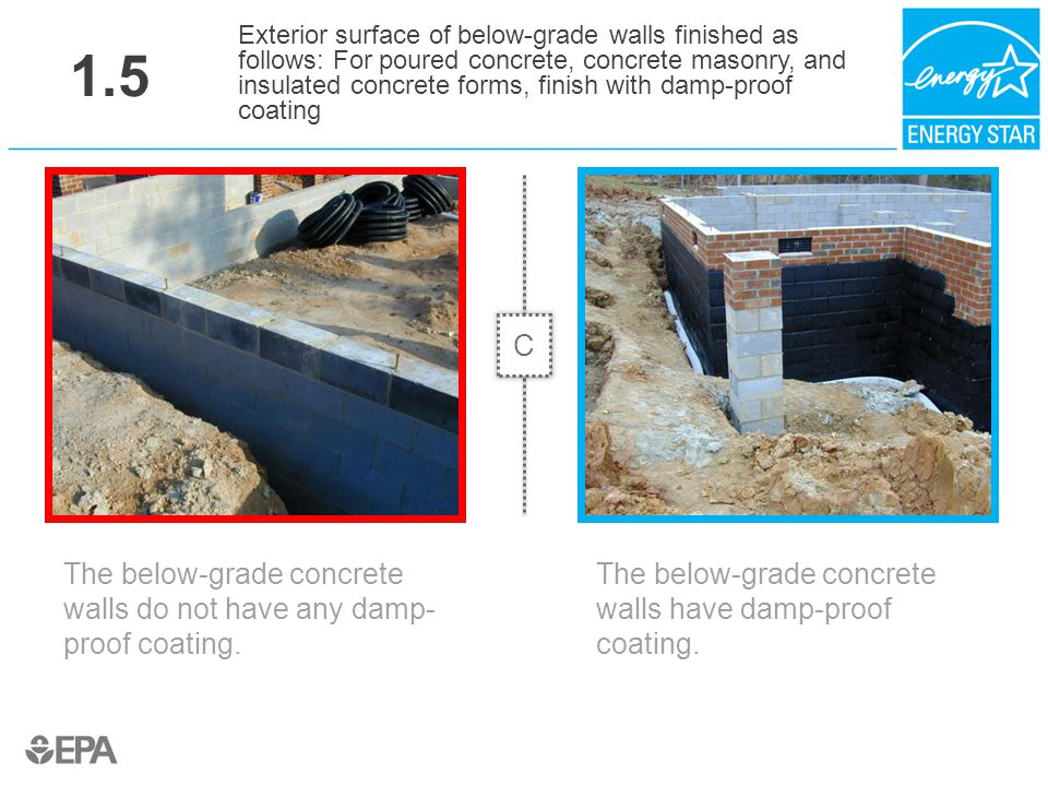 1.5 The below-grade concrete walls do not have any damp- proof coating. Exterior surface of below-grade walls finished as follows: For poured concrete