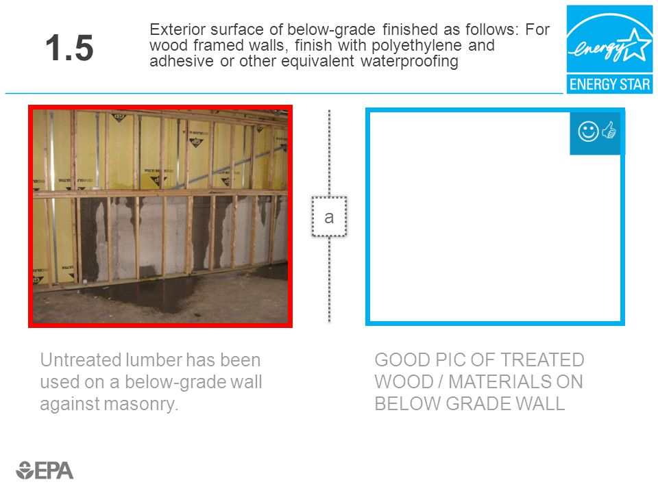 1.5 Untreated lumber has been used on a below-grade wall against masonry. Exterior surface of below-grade finished as follows: For wood framed walls,