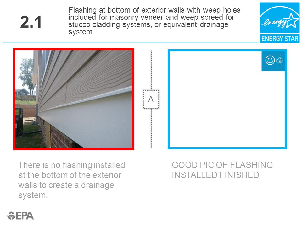 2.1 There is no flashing installed at the bottom of the exterior walls to create a drainage system. Flashing at bottom of exterior walls with weep hol