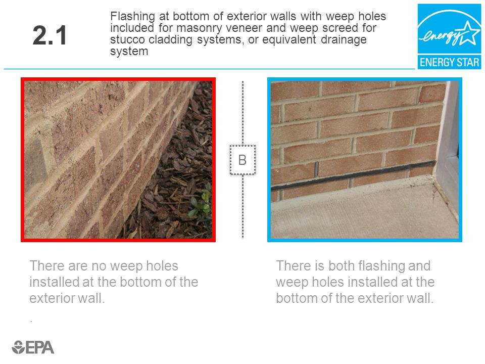 2.1 There are no weep holes installed at the bottom of the exterior wall.. Flashing at bottom of exterior walls with weep holes included for masonry v