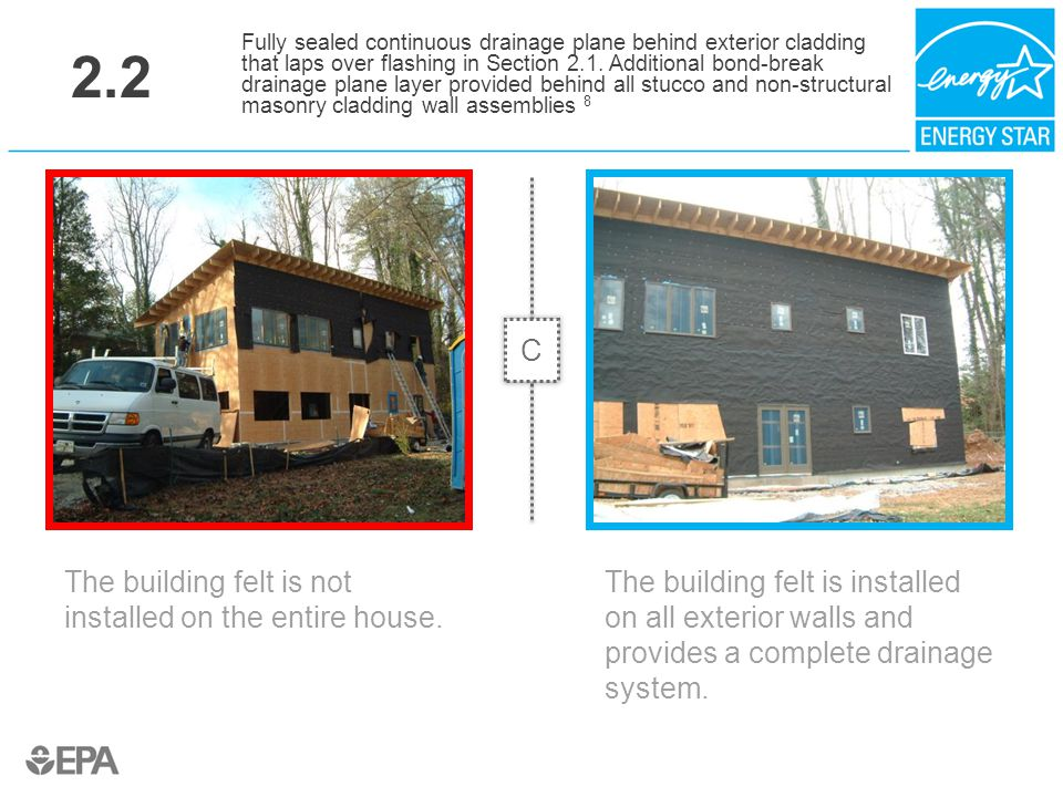 2.2 The building felt is not installed on the entire house. Fully sealed continuous drainage plane behind exterior cladding that laps over flashing in