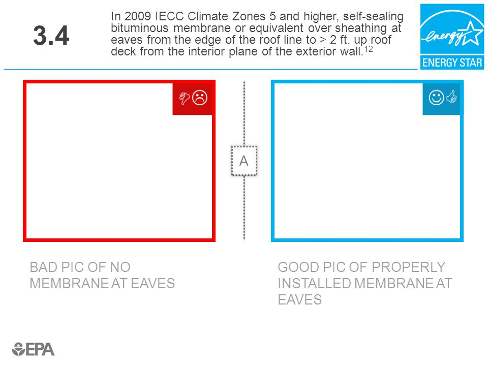 3.4 BAD PIC OF NO MEMBRANE AT EAVES In 2009 IECC Climate Zones 5 and higher, self-sealing bituminous membrane or equivalent over sheathing at eaves fr