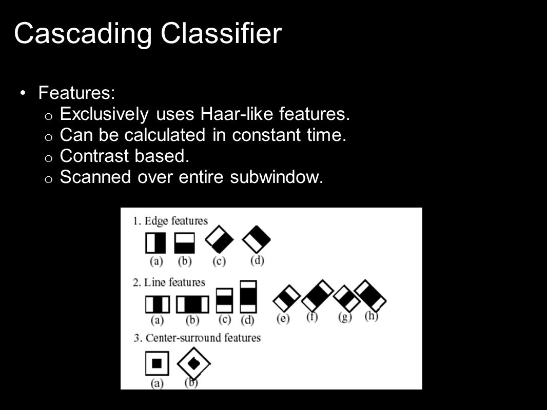 Cascading Classifier Features: o Exclusively uses Haar-like features.