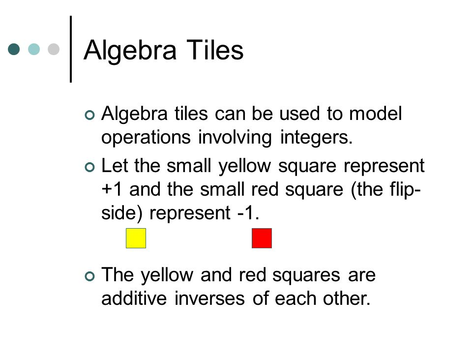 Solving Equations Algebra tiles can be used to explain and justify the equation solving process.