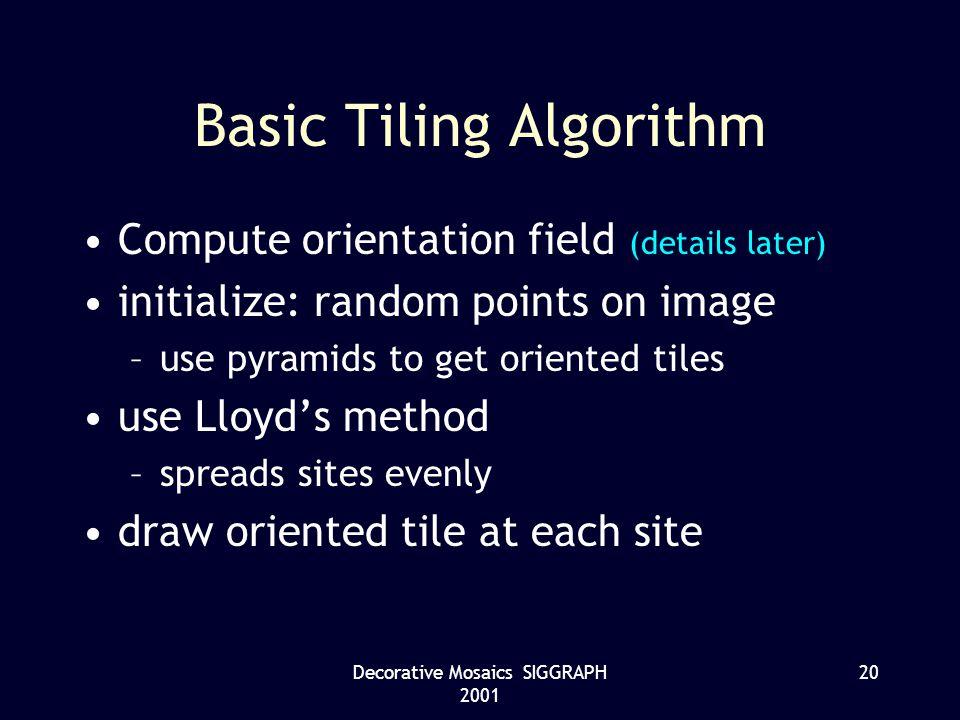 Decorative Mosaics SIGGRAPH 2001 20 Basic Tiling Algorithm Compute orientation field (details later) initialize: random points on image –use pyramids