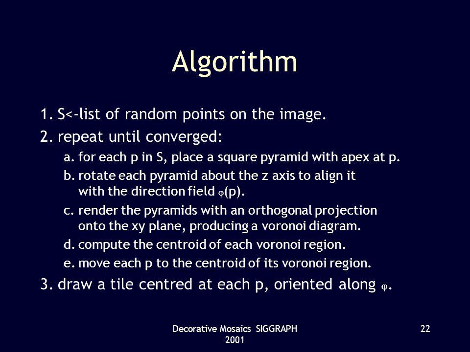 Decorative Mosaics SIGGRAPH 2001 22 Algorithm 1.S<-list of random points on the image.