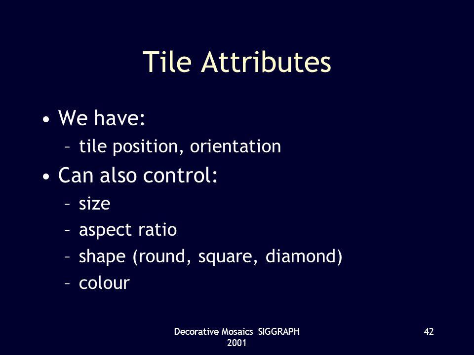 Decorative Mosaics SIGGRAPH 2001 42 Tile Attributes We have: –tile position, orientation Can also control: –size –aspect ratio –shape (round, square, diamond) –colour
