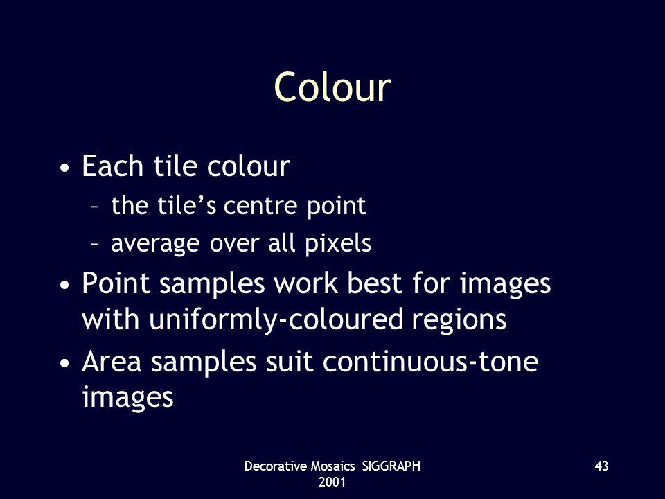 Decorative Mosaics SIGGRAPH 2001 43 Colour Each tile colour –the tiles centre point –average over all pixels Point samples work best for images with u