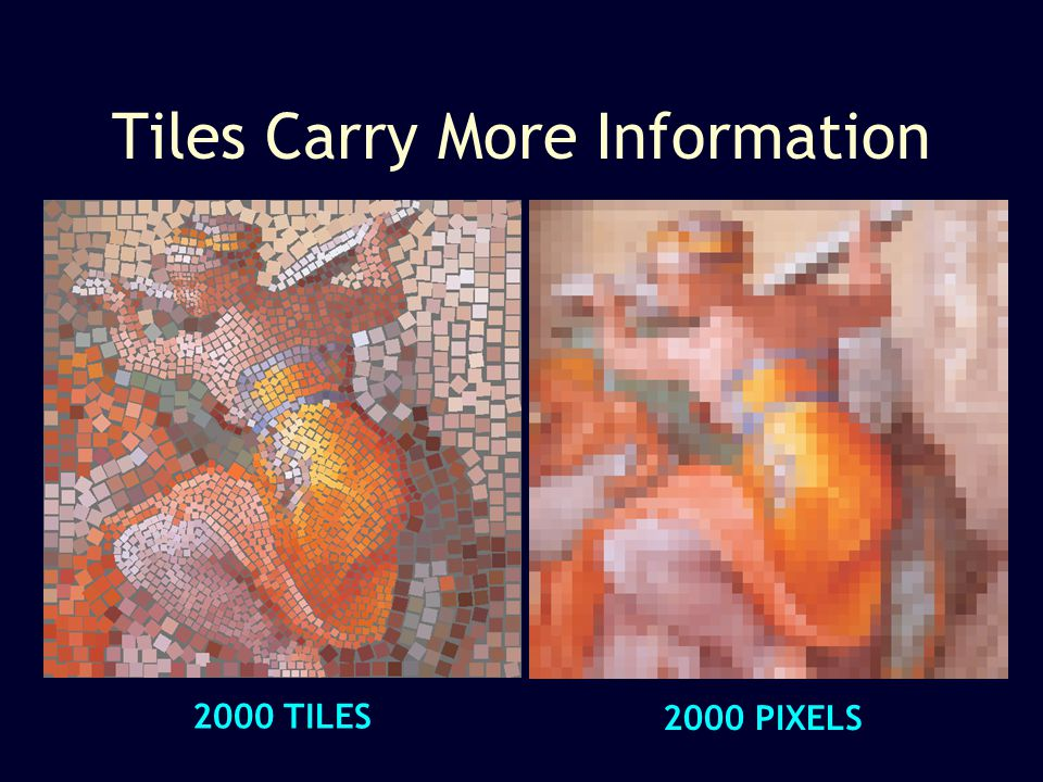 Tiles Carry More Information 2000 PIXELS 2000 TILES