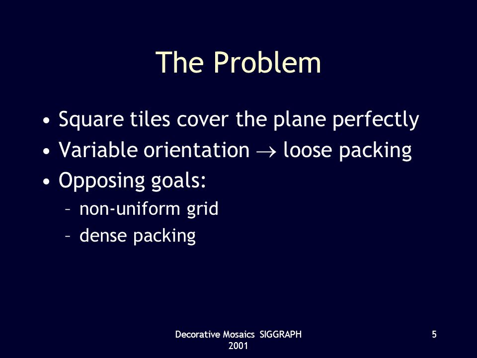 Decorative Mosaics SIGGRAPH 2001 5 The Problem Square tiles cover the plane perfectly Variable orientation loose packing Opposing goals: –non-uniform