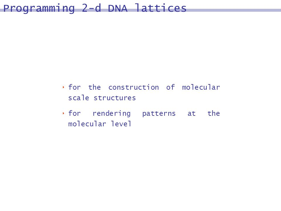 Programming 2-d DNA lattices for the construction of molecular scale structures for rendering patterns at the molecular level
