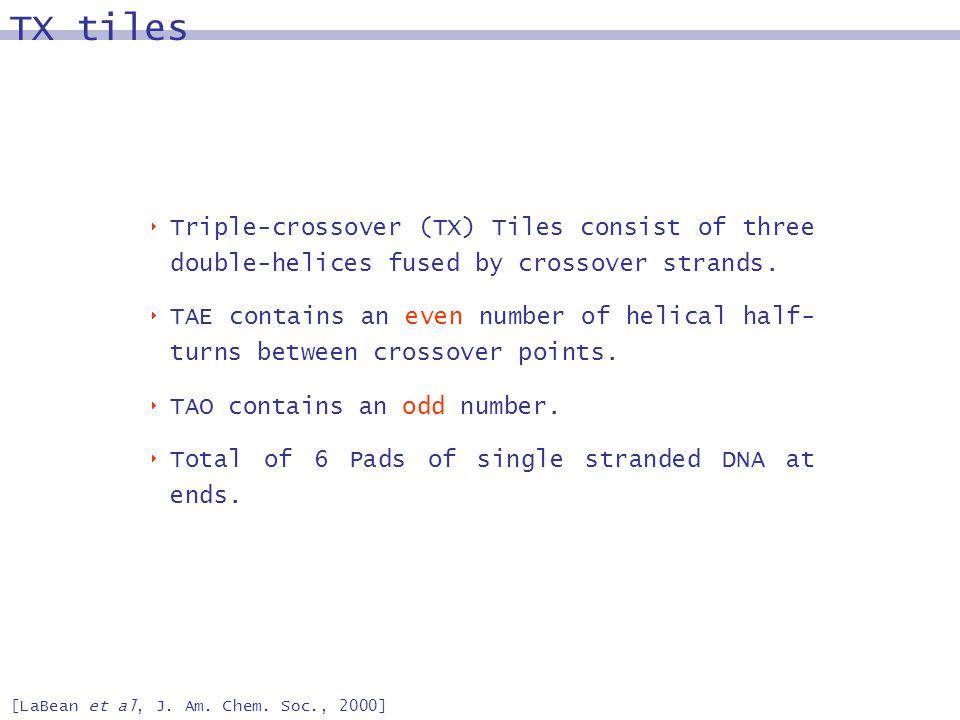TX tiles [LaBean et al, J. Am. Chem.