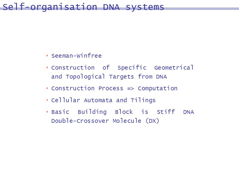 Seeman-Winfree Construction of Specific Geometrical and Topological Targets from DNA Construction Process => Computation Cellular Automata and Tilings Basic Building Block is Stiff DNA Double-Crossover Molecule (DX) Self-organisation DNA systems