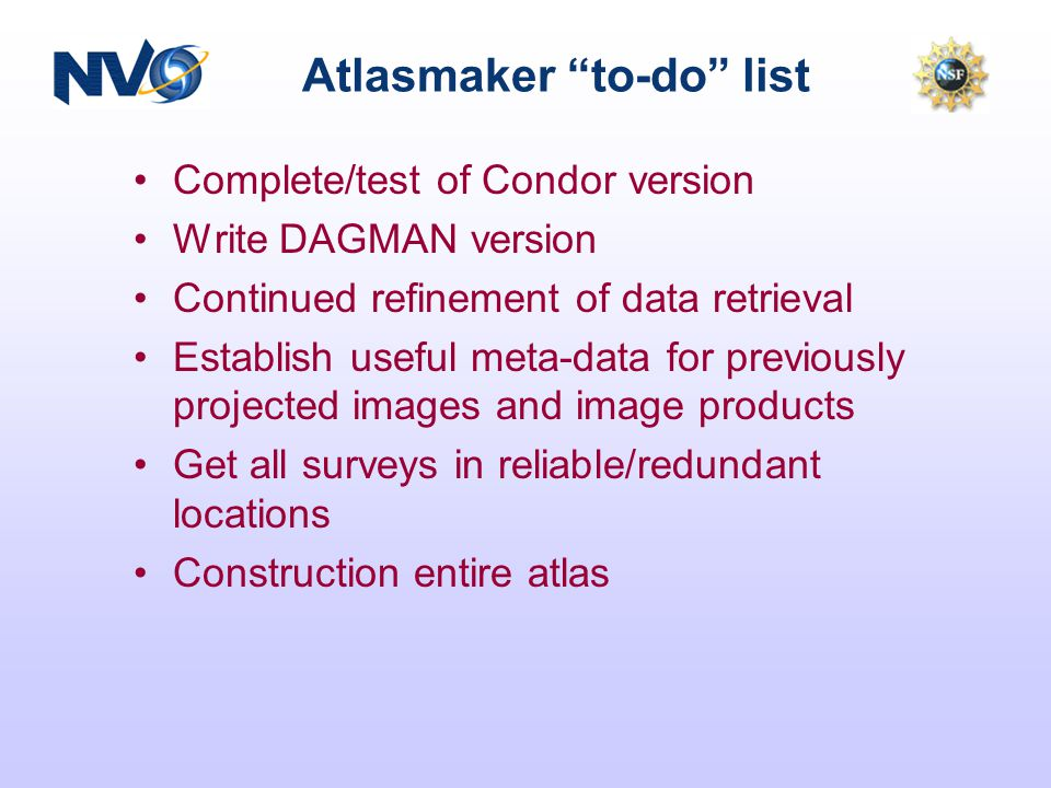 Atlasmaker to-do list Complete/test of Condor version Write DAGMAN version Continued refinement of data retrieval Establish useful meta-data for previously projected images and image products Get all surveys in reliable/redundant locations Construction entire atlas