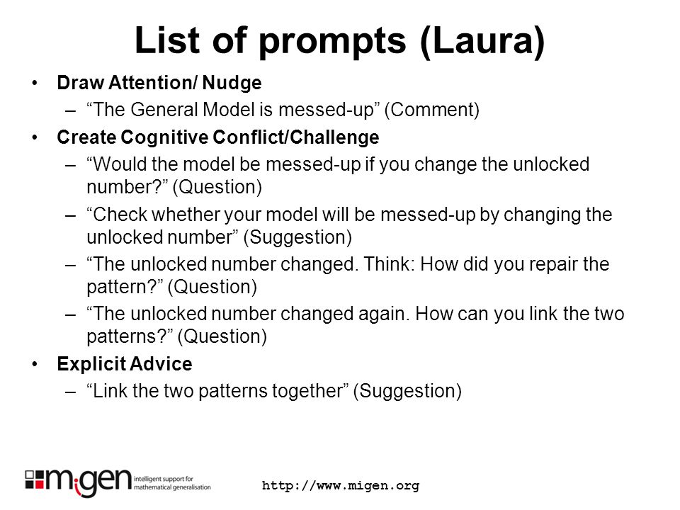 List of prompts (Laura) Draw Attention/ Nudge –The General Model is messed-up (Comment) Create Cognitive Conflict/Challenge –Would the model be messed