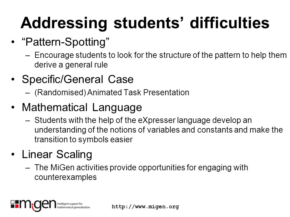 Addressing students difficulties Pattern-Spotting –Encourage students to look for the structure of the pattern to help them derive a general rule Spec