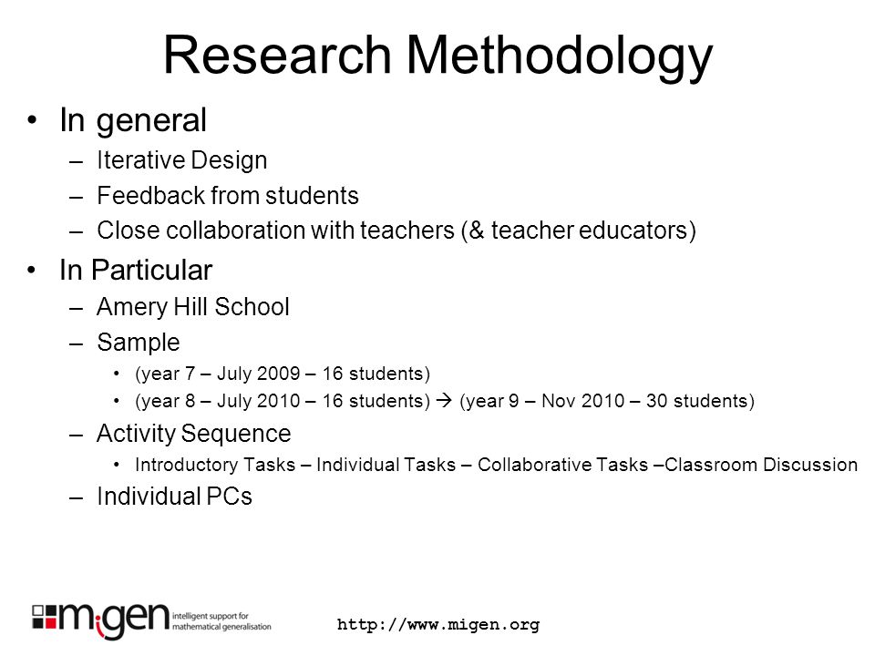 Research Methodology In general –Iterative Design –Feedback from students –Close collaboration with teachers (& teacher educators) In Particular –Amer