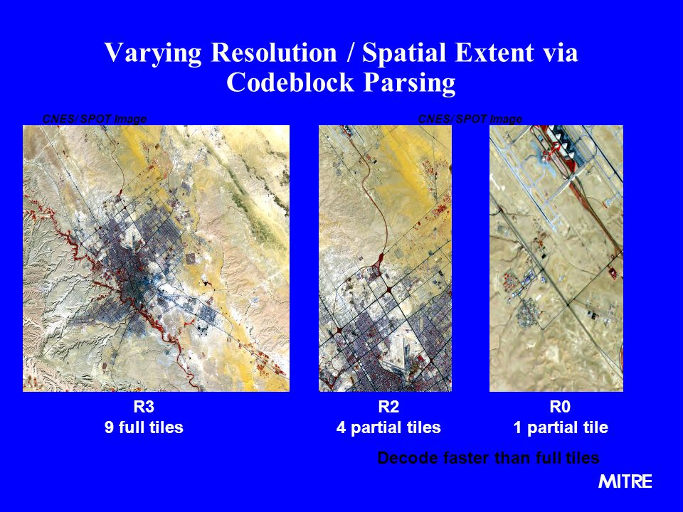 Varying Resolution / Spatial Extent via Codeblock Parsing R3 9 full tiles R2 4 partial tiles R0 1 partial tile Decode faster than full tiles CNES/ SPOT Image