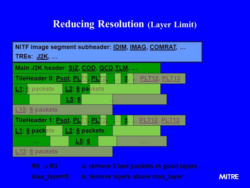 Main J2K header: SIZ, COD, QCD,TLM, … TileHeader 0: Psot, PLT1, PLT2, … 5,... PLT12, PLT13 L13: 6 packets L1: 6 packets L5: 6 … L2: 6 packets Reducing