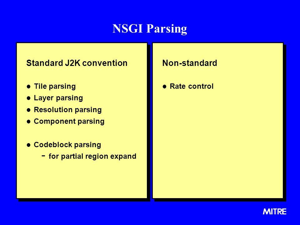 NSGI Parsing Standard J2K convention l Tile parsing l Layer parsing l Resolution parsing l Component parsing l Codeblock parsing - for partial region expand Standard J2K convention l Tile parsing l Layer parsing l Resolution parsing l Component parsing l Codeblock parsing - for partial region expand Non-standard l Rate control