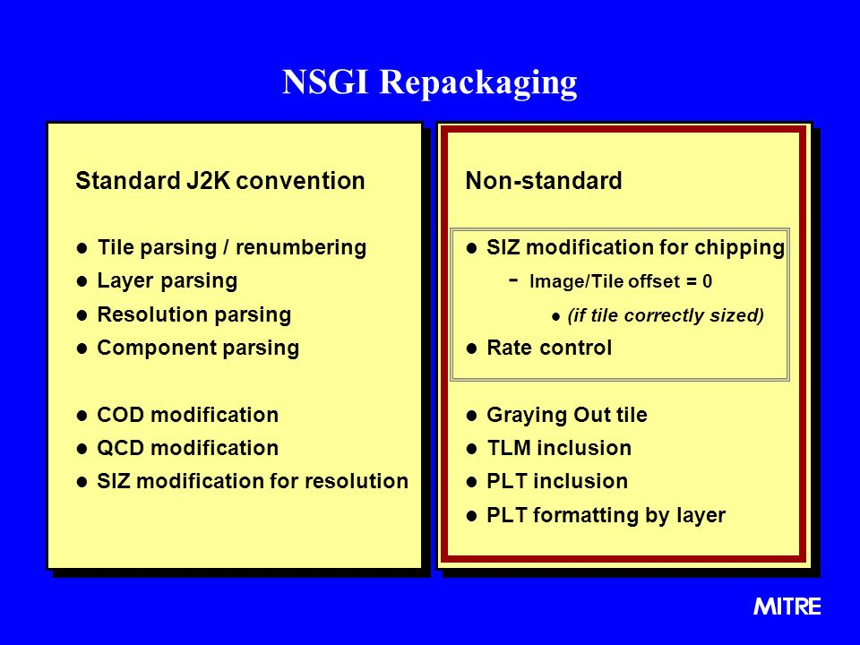 NSGI Repackaging Standard J2K convention l Tile parsing / renumbering l Layer parsing l Resolution parsing l Component parsing l COD modification l QCD modification l SIZ modification for resolution Standard J2K convention l Tile parsing / renumbering l Layer parsing l Resolution parsing l Component parsing l COD modification l QCD modification l SIZ modification for resolution Non-standard l SIZ modification for chipping - Image/Tile offset = 0 l (if tile correctly sized) l Rate control l Graying Out tile l TLM inclusion l PLT inclusion l PLT formatting by layer
