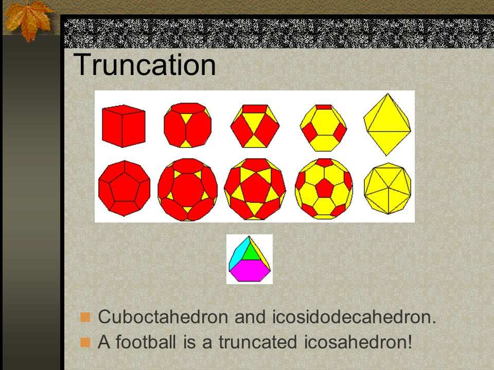 Truncation Cuboctahedron and icosidodecahedron. A football is a truncated icosahedron!